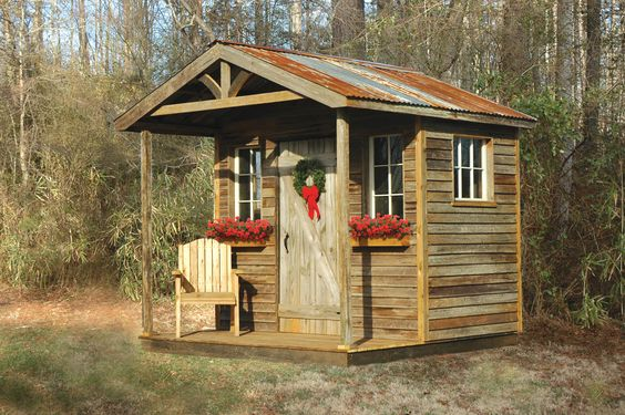 Decking fence rustic shed and sheds on pinterest for Rustic shed with porch