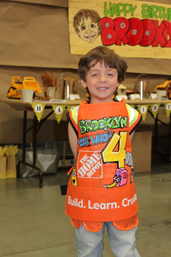 Adorable: A construction-themed party at the local @Home Depot! They built bird houses, did a scavenger hunt + more! #kidsparty #partyidea