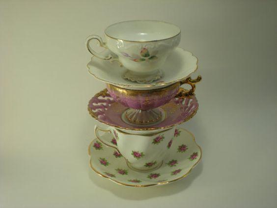Vintage Tea Cup Jewelry Display by EternallyMessy on Etsy, $30.00