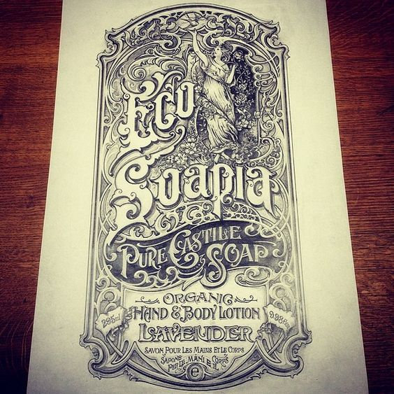 """Another really great """"vintage"""" work from David Smith. This time for a London Soaps company. Found these pictures on his Instagram feed, so sorry for the quality :)"""