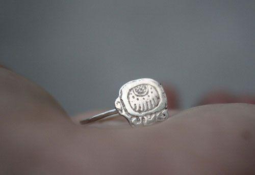 Tzolkin mayan ring, personnalized sterling silver Maya calendar jewelry