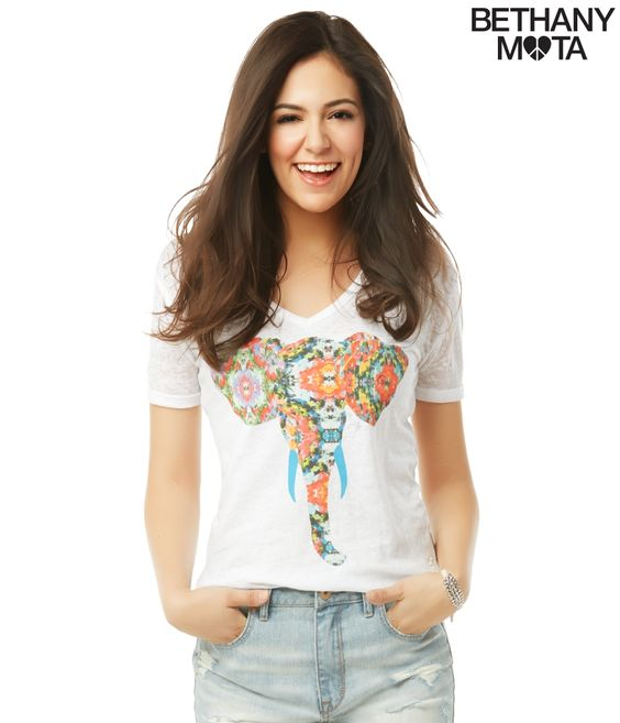 love the pattern on the elephant :) Bethany Mota Spring Collection at Aeropostale