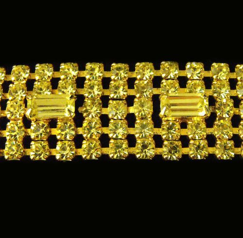 """Vtg Signed WEISS Canary Rhinestone Bracelet Chaton Baguette 7"""" x 1"""""""
