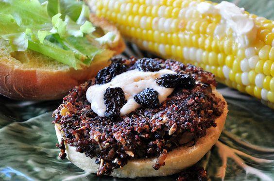 Triple Mushroom Quinoa Burger and Sweet Corn (w/recipe)