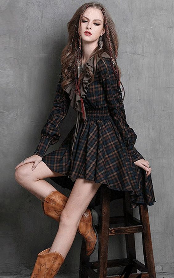 R.Vivimos® Women Cotton Asymmetrical V-neck Long Sleeve Dresses
