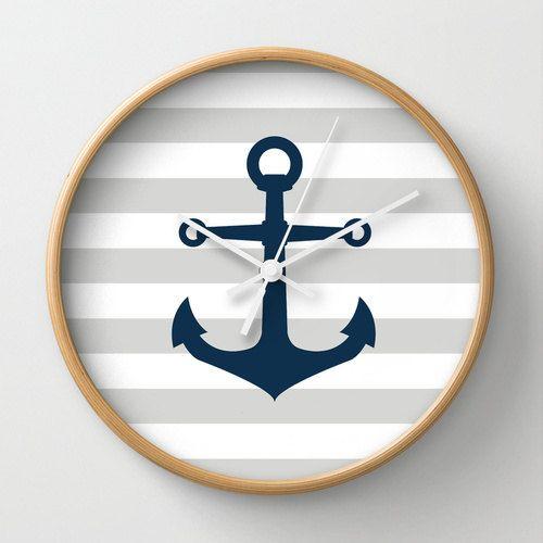 Nautical Anchor Wall Clock 10 inch Diameter Gray by decomodwalls, $35.00