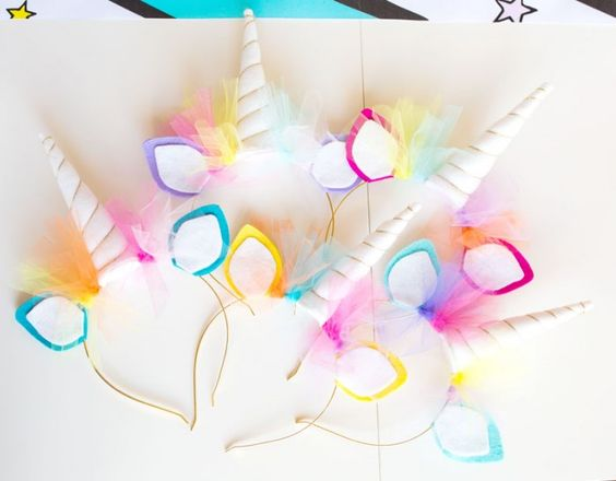 Unicorn Headbands | Unicorn Birthday Party Decorations + Party Favors | by Jessica Wilcox of Modern Moments Designs | www.modernmomentsdesigns.com: