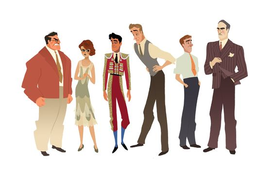 Character designs from Ernest Hemingway's The Sun Also Rises.