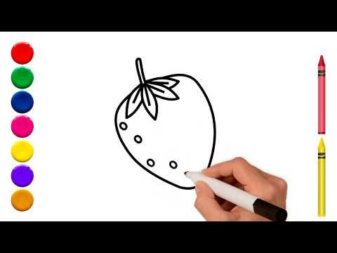 Strawberry Drawing Coloring Strawberry رسم تلوين فروله Youtube Fruit Coloring Pages Drawing Apple Coloring For Kids