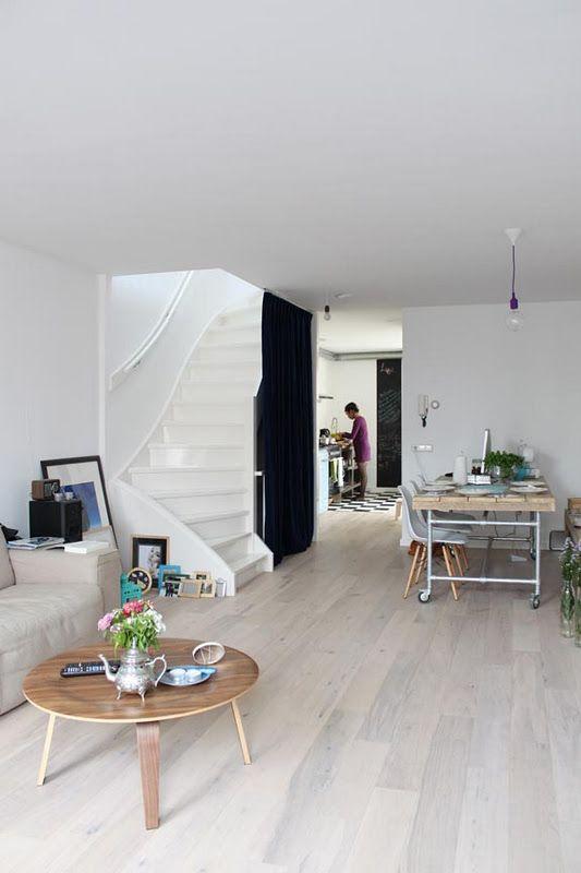 For art/hard floor area: whitewashed laminate flooring