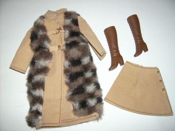 Vintage Barbie Mod Era 1972 Suede 'N Fur Faux Fur Coat Skirt 3491 Clothes   eBay