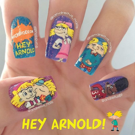 """""""Cartoon nails! For those who missed this one!  #HeyArnold #nails @so_nailicious ;) one od my favorite cartoons as a child!"""" Photo taken by @andreitus_nails on Instagram, pinned via the InstaPin iOS App! http://www.instapinapp.com (05/03/2013)"""