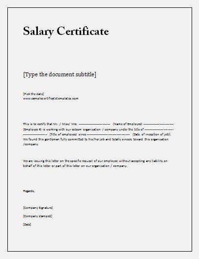 16 Free Salary Certificate Formats Printable Word Excel Pdf