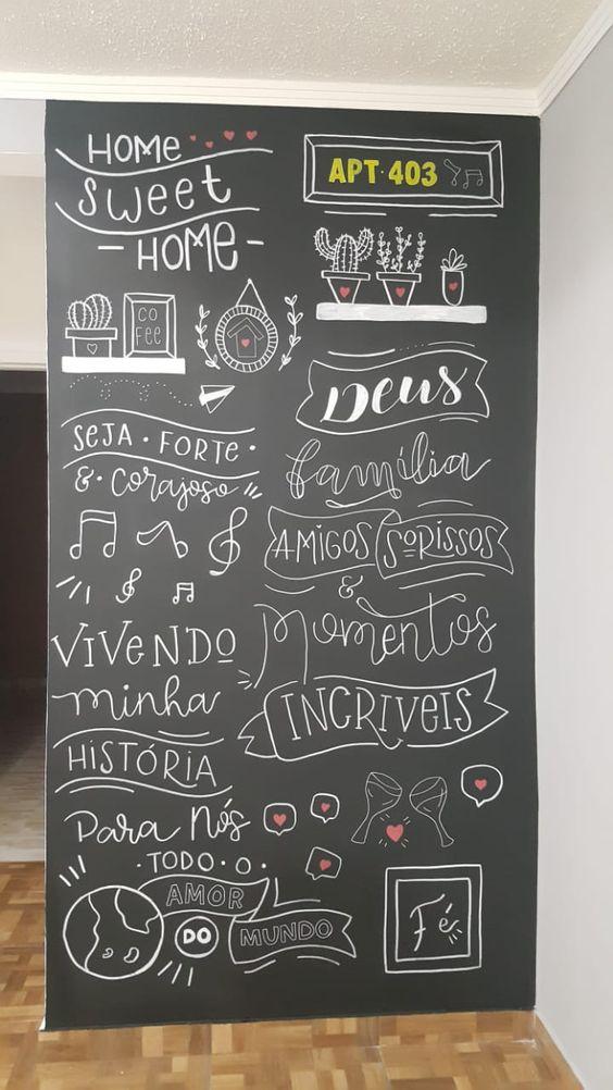 Parede Lousa APT #Lousa #Chalk #Chalkboard #lettering