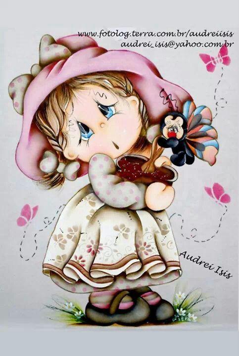 Menina pintura em tecido pinterest - Decorarte pinturas ...