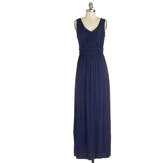 Long Sleeveless Maxi Brunch at Home Dress (4.390 RUB) ❤ liked on Polyvore featuring dresses, apparel, blue, fashion dress, long length dresses, blue dress, long jersey knit dress, sleeveless long dress and blue sleeveless dress