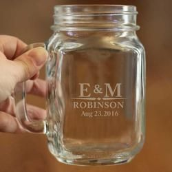 High Quality Couple Mason Jar with Handle - Unique Wedding Gift - Custom Initials, Last Name and Dates