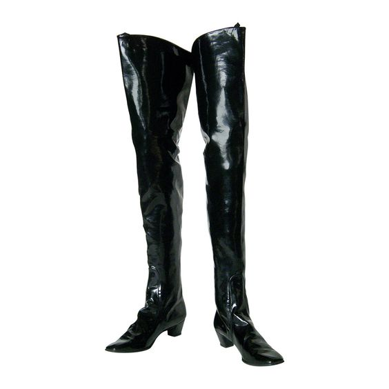 Beth Levine Thigh High Black Vinyl Boots | Vinyls, Vintage and ...