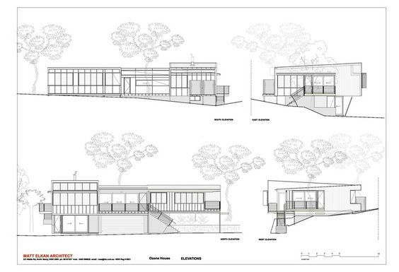 New build with sloped lot - exterior elevation by Matt  Elkan Architect