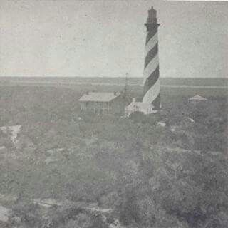 Oldest picture of the St. Augustine Lighthouse.  Taken pre 1880. Most likly taken from atop the old lighthouse before it fell into the sea due to erosion.