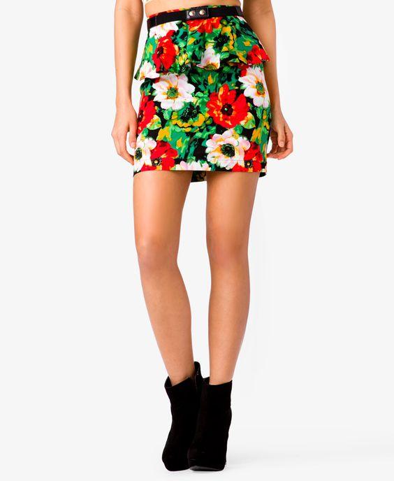 Floral Peplum Skirt | FOREVER21 - 2041720206