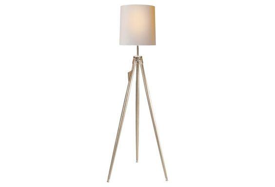 2 Bulb Floor Lamp: Surveyor 2-Bulb Floor Lamp, Silver Leaf,Lighting