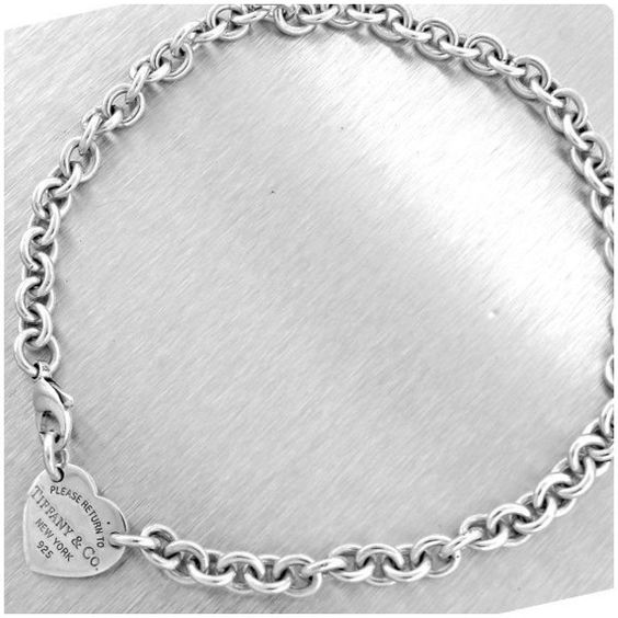 Pre-owned Tiffany & Co. 925 Sterling Silver Heart Tag Choker Link... ($249) ❤ liked on Polyvore featuring jewelry, necklaces, heart shaped necklace, sterling silver heart jewelry, tiffany & co necklace, heart necklace and sterling silver jewelry