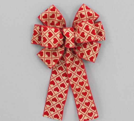Red Flocked Heart Rustic Valentine's Day Bow
