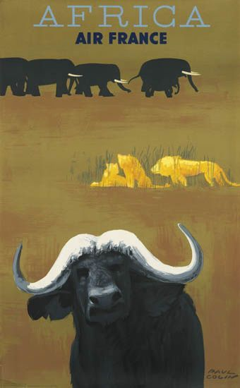 Vintage Travel Poster  - Africa -    by Paul Colin - 1956 - (Air France).