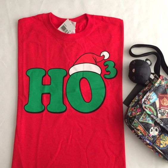 "HO3 Christmas t-shirt Ho Ho Ho Christmas red t-shirt, material 100% cotton, size M, measurements laying flat: bottom armpit-to-armpit about 19"" across, shoulder to hem about 28"" long Tops Tees - Short Sleeve"