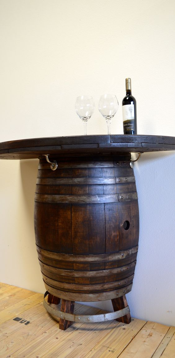 Cocktail tables wine barrels and bar on pinterest for Table 85 hours