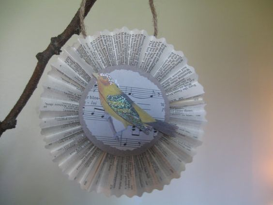 Spring Bird Rosette Ornament  Gift Tag  Paper by TheVelvetVine, $7.00