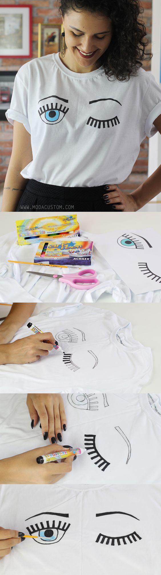 Tutorial camiseta cílios no blog: http://modacustom.com.br/2016/03/01/tutorial-camiseta-com-estampa-de-cilios/: