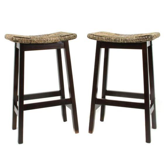 Set Of Two Wooden Bar Stool Rectangular Seagrass Saddle Seat Kitchen Pint