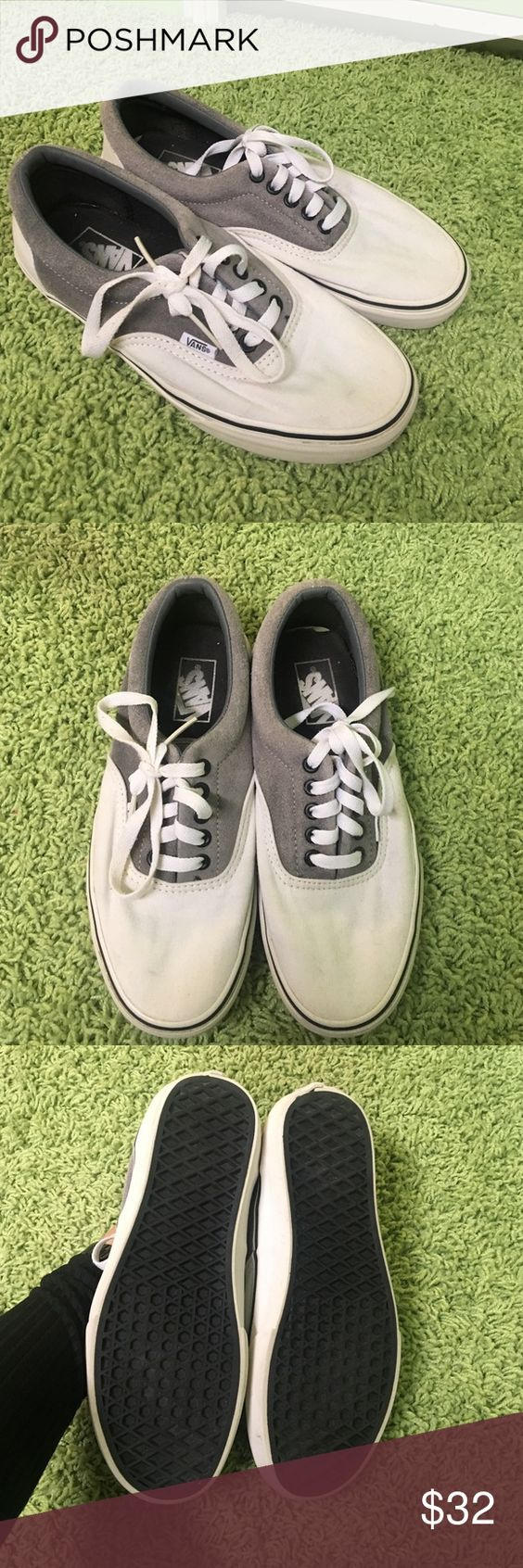 Vans These are in pretty much perfect condition. The gray part is a suede material. Women's size 8. Men's 6.5. Vans Shoes Sneakers