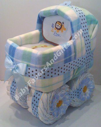Baby carriage diaper cake for boy from http://babyfavorsandgifts.com/diaper-cakes-baby-boy-c-3_21.html
