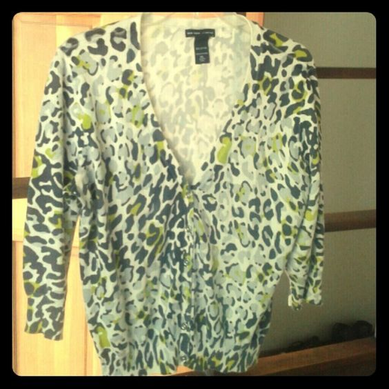 Cuteness Great 3/4 sleeve cardigan. Leopard print with a  splash of color. Used but in condition. New York & Company Sweaters Cardigans