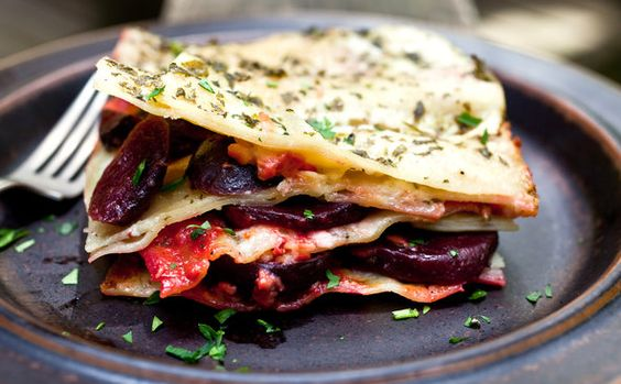 Light lasagna made with roasted summer vegetables from NY Times