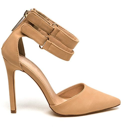 Point Taken Double Strap Heels NUDE ($21) ❤ liked on Polyvore featuring shoes, pumps, tan, tan pumps, high heel pumps, pointed toe pumps, high heel shoes and pointed pumps