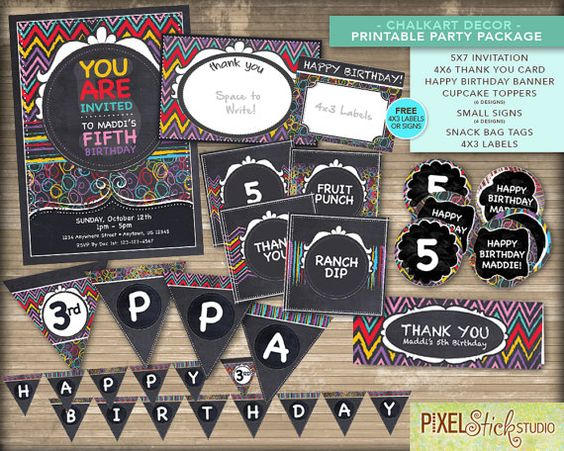 Chalkart Rainbow PARTY PACKAGE with FREE by PixelStickStudio, $55.00