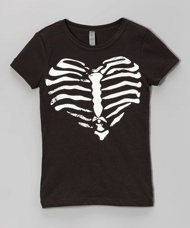 Another great find on #zulily! Black Rib Heart Tee - Toddler & Girls by Micro Me #zulilyfinds