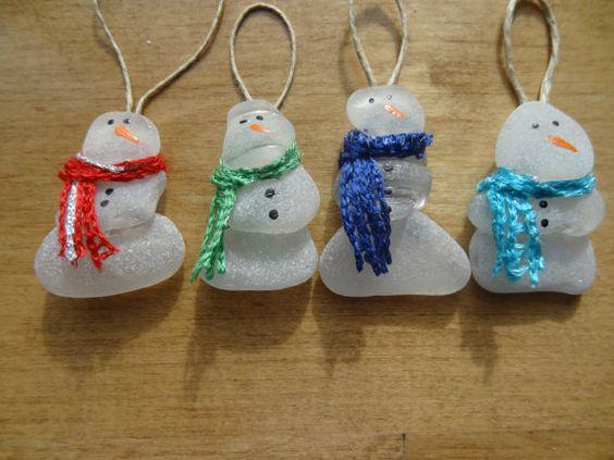Beach glass snowman ornament 2 pinterest glasses for Glass christmas balls crafts