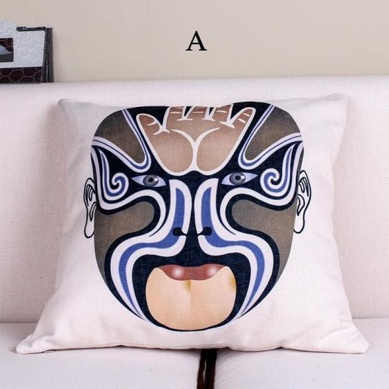 Beijing Opera Mask decorative pillows for couch Chinese style sofa cushions
