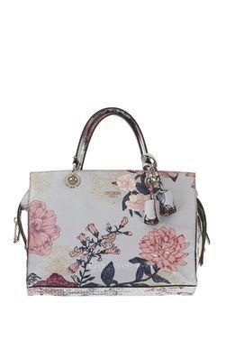 This Grey Floral Guess Seraphina Satchel Handbag Item Code