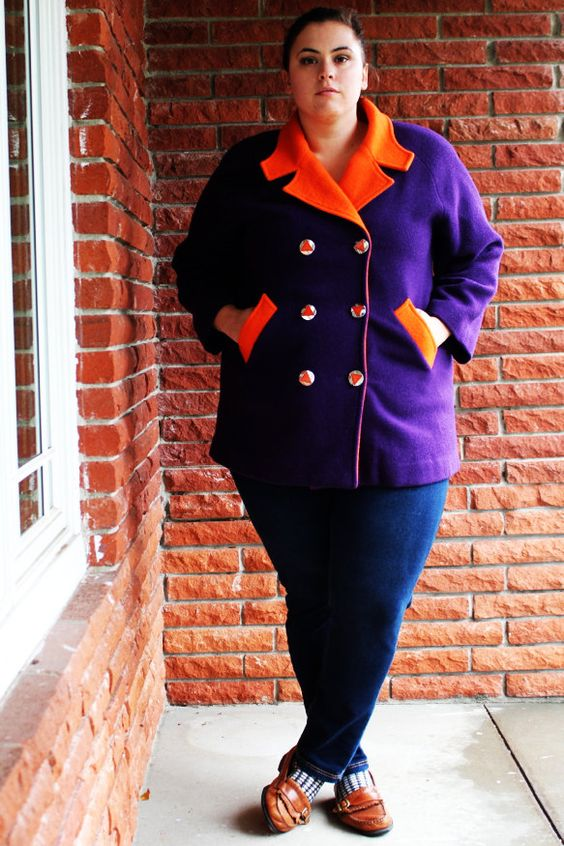 Plus Size - Vintage Purple w/ Contrasting Orange Double Breasted Overcoat (Size 18)