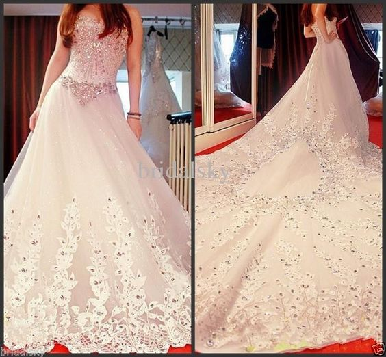 Popular Appliques Crystals Bow Cathedral Train Sweetheart A-Line Sleeveless Wedd #Handmade eBay, $468.99