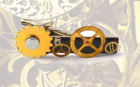 Tie Clip Steampunk Gear Cog and Sprockets Tieclip Vintage Style Recycled Watch Parts Tie Bar Accent. $20.00, via Etsy.