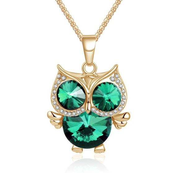 Women's Crystal Owl Vintage Style Cubic Zircon Diamond Necklace - 3 Colors - The Sorse - 1