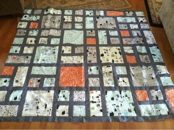 City block quilt with sashing