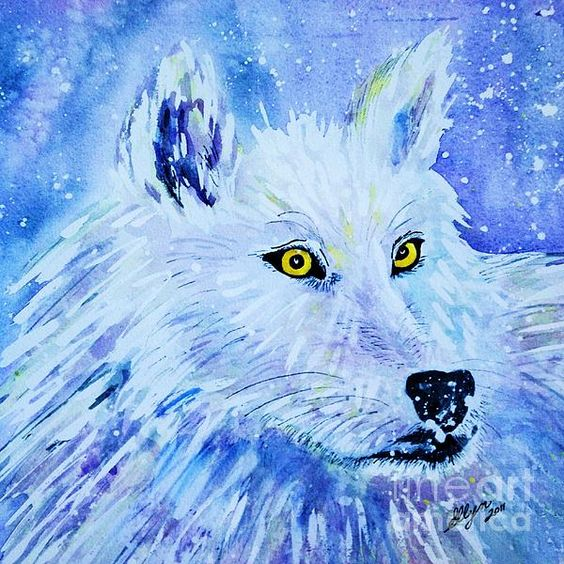 Title  White Wolf - Aurora Nights In Blues - Square   Artist  Ellen Levinson   Medium  Painting - Watercolor Digitally Enhanced